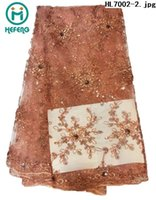 fabric for wedding dress lace - 2015 hot saleing high quality african swiss voile lace french net lace fabric with flower with stone for wedding dress HL7002
