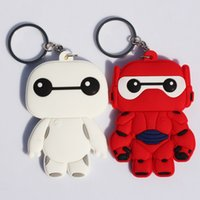 rubber keychain - Anime Q version CM Big Hero Baymax Hiro Soft Rubber Dolls Keychain toy Dolls