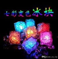 Wholesale Colorful Led Flash Light Ice Cube Water actived Light up HotColors Auto Changing Crystal Flashlight for Party Wedding Christmas Decoration