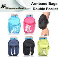 Wholesale Universal Wrist Armband Bags Cycling Outdoor Sports Zipper Cloth Pouch Mobile Phone S6 iPhone Key Coin Purse Double Pocket Arm Band Bag