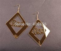 acrylic earrings bad - Hip hop photography stage show exaggerated acrylic mirror hollow BAD letters Earrings