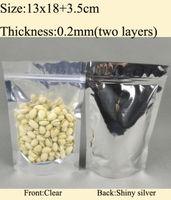 aluminum plastic composite - 13x18 cm x7 quot Composite aluminum Foil Ziplock Stand Up Bag silve clear Freeshipping