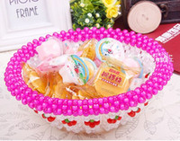 Wholesale handmade decorative wedding accessories candy tray round Snack biscuits candies plate dishes holders beads art crafts home decoration
