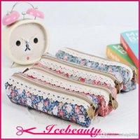 Cheap Fashion Mini Retro Flower Floral Lace Pencil Shape Pen Case Cosmetic Makeup Make Up Bag Zipper Pouch Purse A3A5