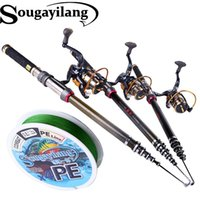 Wholesale Fishing Rod SET M M Portable Telescopic Rod With BB Full Metal Reel With M Multifilament Braided Fishing Line Set