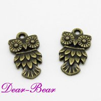 Wholesale Bronze Owl Charms Retro Vintage Style Animal Pendants Metal Findings For Jewelry Crafts pc dandys