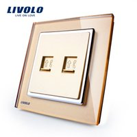 Wholesale New force Wal golden glass panel switch socket dual phone jack two telephone line jack panel