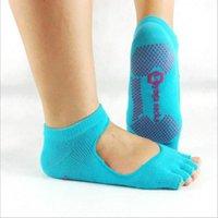 Wholesale 3Pair pieces Backless Home Yoga half or full toe fiver finger non slip yoga socks women sports cotton Sport PVC Dots socks