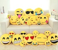 Wholesale 15 Styles Cute Lovely Emoji Smiley Pillows Cartoon Facial QQ Expression Cushion Pillows Yellow Round Stuffed Pillow