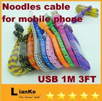 knit fabric - Free DHL M USB Candy Fabric Braided Noodle Flat Data Sync Charging Cable Fiber Flat Knit Woven Charger Cords For S4 Smartphone Phone