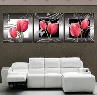 Cheap Free Shipping Modern Picture Set 3 piece wall art on Canvas Painting Home Decoration red flowers for lovers picture printed