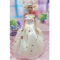 Wholesale color Handmade Toy inch kids baby doll Clothes for girls Bundle of color embroidery wedding dress best gift for my baby