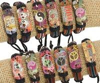 beaded butterfly bracelet - Mixed order genuine leather bracelet love Peace sign Butterfly skull pattern Hemp rope adjustable bracelet