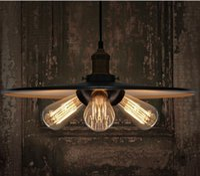 Wholesale Edison copper base single cord Pendant Light coffee bar lighting vintage lampshade Iron Droplight Chandelier Lighting E27 bulb A3