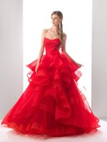 Wholesale 2014 New Red Chinese Wedding Dresses Cascading Ruffles Piping Organza A Line Wedding Gowns Draped Strapless Off The Shoulder Lace Up