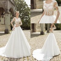 Wholesale 2015 White A Line Applique Wedding Dresses Newest Sheer Jewel Backless Long Sleeves Chiffon Court Train Bridal Gowns With Pleats And Bow