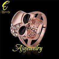 Wholesale 010 Size New Skull jewellery K Rose Gold Plated Enamel Skull Accessories Ring For Women