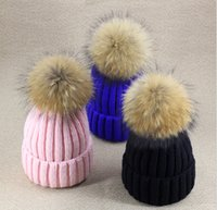 Wholesale really cute raccoon fur ball thick knitted wool hat female couple warm winter hat for women Skullies Beanies hat with pompon
