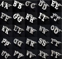 Wholesale English Letters A Z Cufflinks Mens Cuff links for Male French Shirt Men Jewelry Boy Uniform Cufflinks Name Initial Cuff Buttons