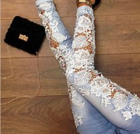 Wholesale Sexy Women s Denim Light Blue Skinny Jeans Crochet Lace Party Pants With Chain boyfriend jeans for women new arrive