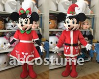 Wholesale 2015 New Father Chrismas Mickey mouse Minne mouse Black Mouse Easter Mascot Costume on sale Christmas clothes Halloween Party Adult Suit