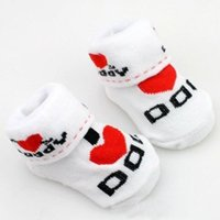 Wholesale 1 Pair of Cotton Baby Socks Rubber Slip resistant Floor Socks Love Mom Love Dad Cartoon Small kid s Socks Months