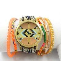 al por mayor reloj de las mujeres de cristal de múltiples-Las nuevas mujeres de las pulseras de Bohemia del reloj bolas de cristal hecha a mano trenzada de múltiples capas de la playa del encanto del Rhinestone de las pulseras de cadena de venta al por mayor