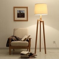 Wholesale MXZ Modern brief log lanting fabric floor lamp wood tripod floor lamps