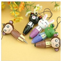 Ballpoint Pens advertising materials - Animal Modelling Ball point Pen New Fashion Bamboo Material Cartoon Ballpoint Creative Advertising Pen Mobile Chain Key Ring Kids Gift