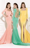 Cheap Tarik Ediz Scoop Long Sleeves Evening Dresses Split Front With Bradde Chain Mermaid Sweep Train Dresses