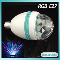 Power LED auto led light - E27 Auto Rotating RGB LED Bulb Light W AC85 V LED Full Colors Rotating Lamp For Stage KTV Club
