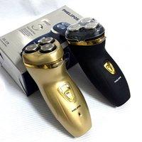 PHELIPOS máquina de afeitar eléctrica de afeitar Nueva Rotary máquina de afeitar recargable lavable 3 barba Trimmer máquina de afeitar para hombres