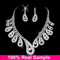 accessories teenager - Cheap Bridal Jewelry Sets Silver Crystal Statement Necklaces and Chandelier Stud Rhinstone Earring For Wedding Party Prom Teenager Accessory