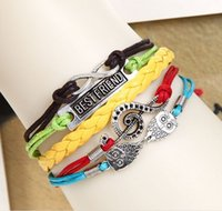 Wholesale 44 Designs Leather Bracelet Antique Cross Anchor Love Peach Heart Owl Bird Believe Pearl Knitting Bronze Charm Bracelets DHL