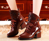 full grain leather - Rivets Lace Up Genuine Leather Women Ankle Boots New Arrival Fahion Casual Winter Thick Heels Woman Martin Boots SXQ0504