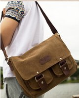 Wholesale 2014 new canvas with genuine leather messenger bags travelling bag sports outdoor bags