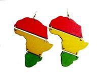 africa earrings - 5pair Newest Rasta Africa Map Links Earrings