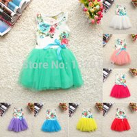 Wholesale New Girls Baby Kids Toddlers Summer Floral Print dress Bow sleeveless Tutu Dress children s clothing
