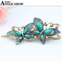 Cheap Vintage Retro Style Crystal Women Barrettes Butterfly Hairpin New Fashion Rhinestone Butterfly Barrette Female Lady Girl Hair Accessory