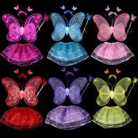 4 piezas de niños traje de Halloween conjunto de doble capa de ángulo mariposa alas de hadas Magic Wand Headband regalo de la fiesta de cumpleaños