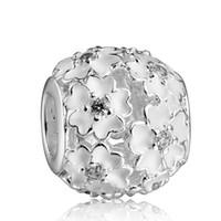 achat en gros de bijoux bricolage fleur blanche-925 Sterling Silver Charm Charms émail blanc Fleur Zircon Perle Fit Pandora Serpent Chaîne Bracelets Bricolage Mode Bijoux