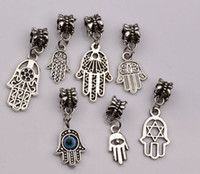 antique silver sale - Hot Sale Antique silver Alloy mix Hamsa Hand Dangle Bead Fit Charm Bracelet mn47