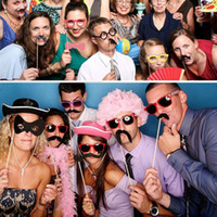beard photos - 33pcs set Wedding Christmas Birthday Party Creative Decoration Beard Hat Glasses Lips Tobacco Pipe Funny Photo Props Mask Set order lt no tr