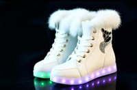 Wholesale 7Color Shoes Fashion LED Winter Snow Boots led glowing shoes Women USB rechargeable led light up winter SHORT FLOSS shoes