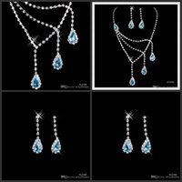 Wholesale Fshion Rhinestone Blue Crystal Jewelry Necklace Earring Set Ear Clip type Lobster clasp Party Prom Wedding Bridal Earrings Necklace A