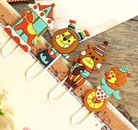 Wholesale Cute Bookmark Diy - Cute Creative 3D Cartoon Hapy Circus Series Metal Paper clip DIY Multifunction Bookmark Wholesale , dandys