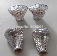 Wholesale 400pcs High quality silver color metal novelty snake design car wheel tire valve cap air dust cap stem price