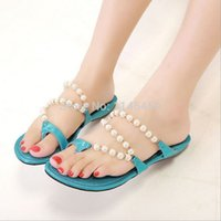 Wholesale 2015 new designer women flipflops sandals lady fashion sweet pearl beads shoes black casual girls shoes