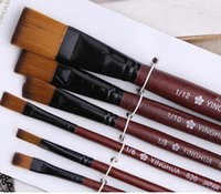 Wholesale New Brown Tip Nylon Paint Brushes Sets Oil Watercolour Acrylic Even Numbers Nlyon Hair For Art Artist Supplies