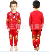 Wholesale Boy s Night Clothing Iron Man Cartoon Pattern Boys Pajamas Long Sleeve Cotton Tee Shirts Printed Trousers Home Wear Red J1939